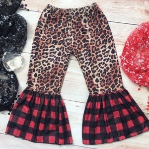 Boutique Leopard & Buffalo Plaid Bell Pants
